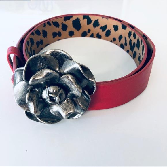 Betsey Johnson Accessories - Betsey Johnson Gunmetal Rose Buckle Red Belt